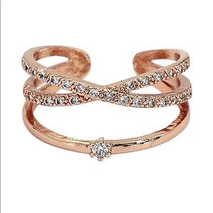 Rose gold cross the small crystal mosaic ring